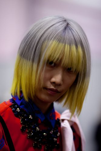 light gray and yellow hair